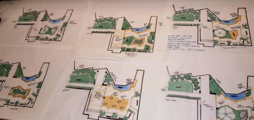 Sculpture garden schematic concepts