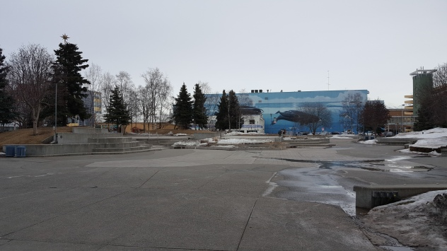 Plaza and Whale Mural