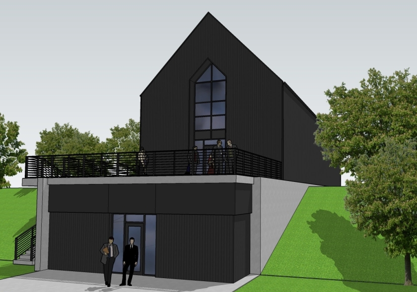 Simple, modern, gabled building for tech company